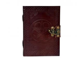 Handmade Celtic Shadow Genuine Leather Journal Parchment Paper Brown Pentagram Diary Notebook